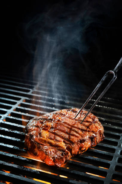 Beef steak on the grill stock photo