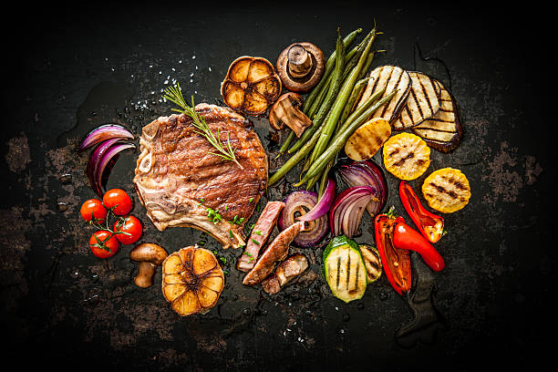 beef steak with grilled vegetables - grilled vegetables stock photos and pictures