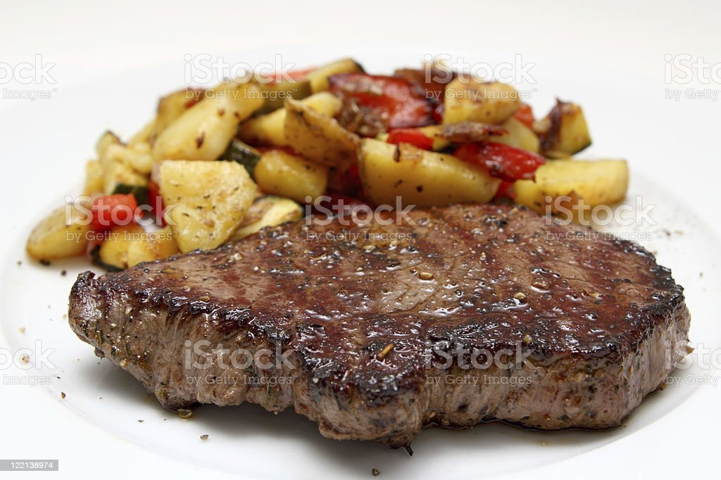 Beef steak with potaoes and mixed vegetable royalty-free stock photo