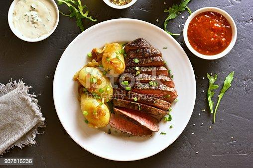istock Beef steak with potato 937816236