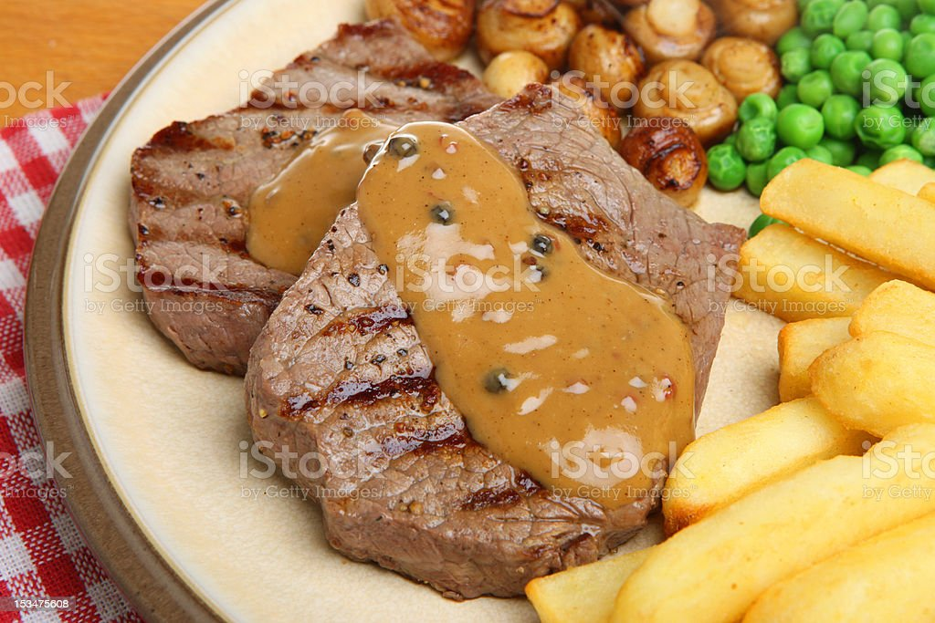 Beef Steaks with Peppercorn Sauce stock photo