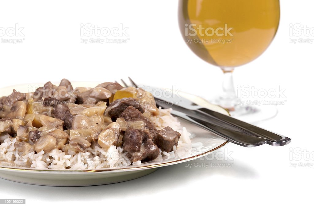 Beef stew and a cold beer royalty-free stock photo