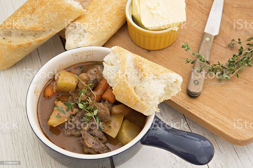 Beef Stew And Bread stock photo