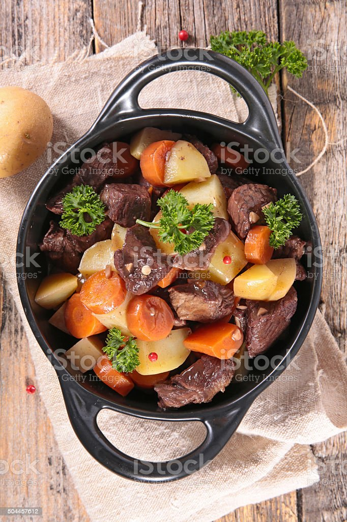 beef stew and carrot stock photo