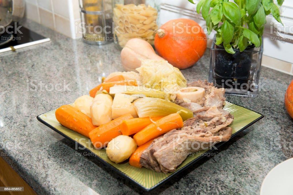 Rindfleischeintopf Und Gemüse Französisch Pot Au Feu Stockfoto Und