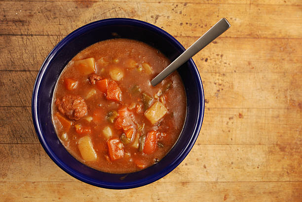 Beef stew from above stock photo