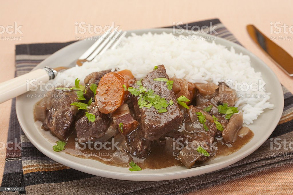 Beef Stew on a Plate with Rice stock photo