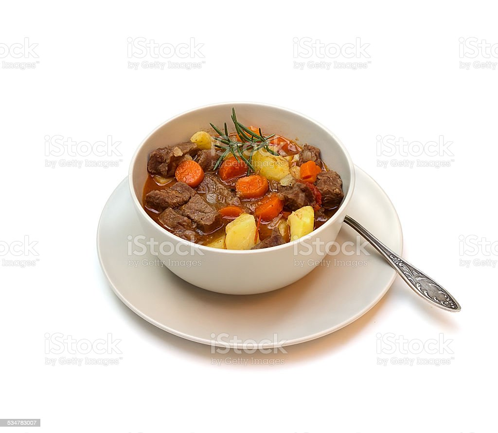 Beef stew on white background stock photo