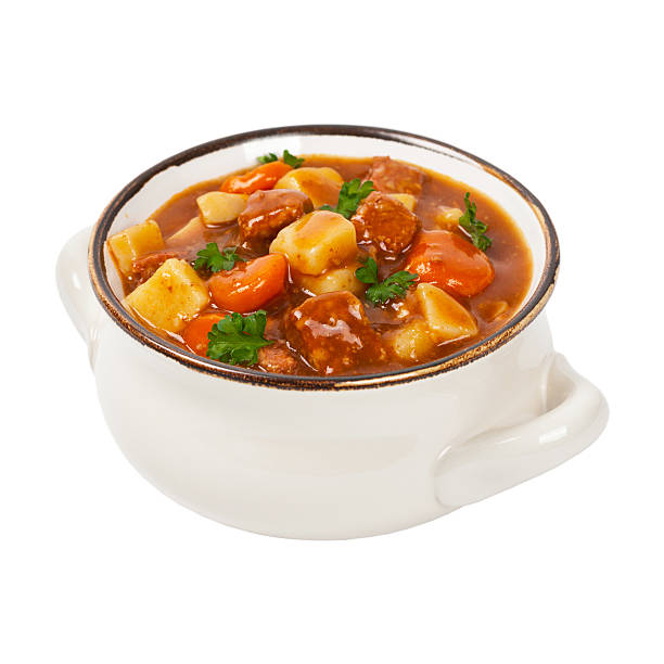 Beef Stew Beef Stew Isolated on white. Selective focus. beef stew stock pictures, royalty-free photos & images
