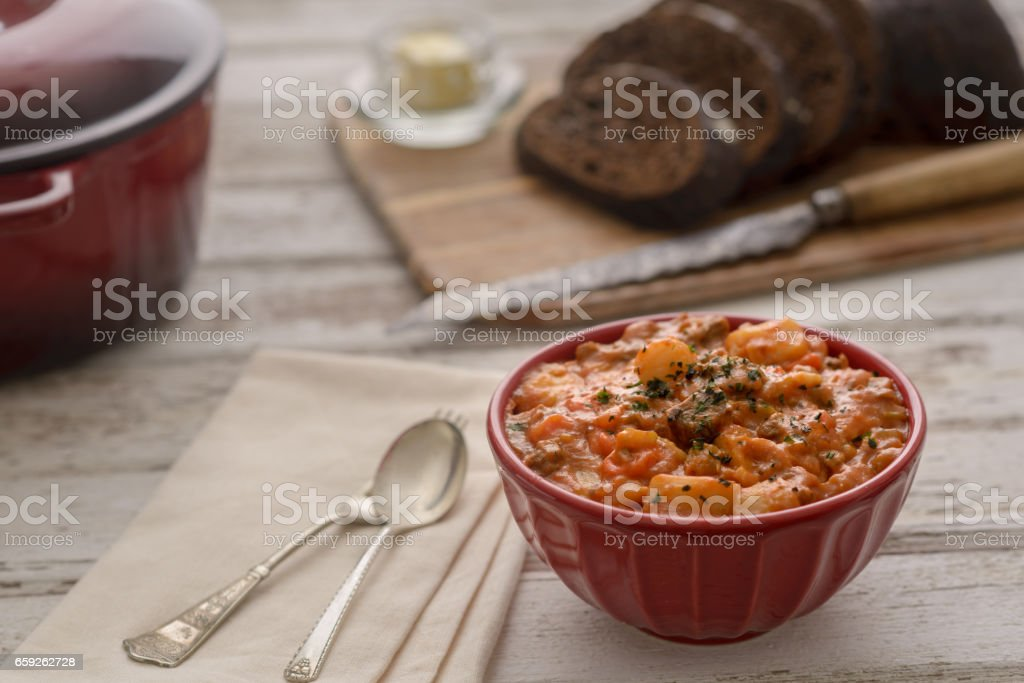 Beef Stew Place Setting stock photo