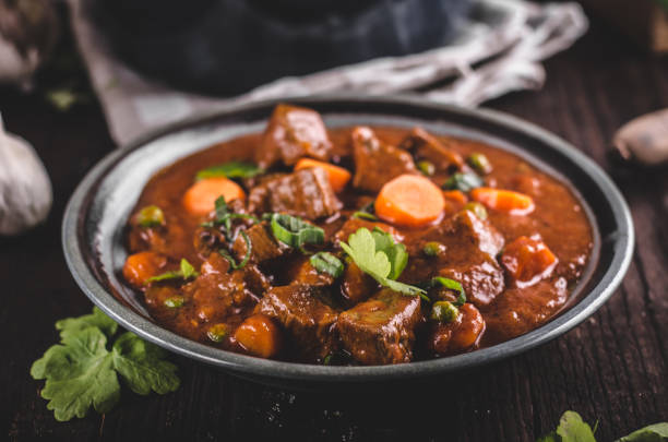 Beef stew with carrots stock photo