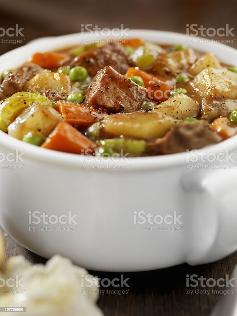 Beef Stew with Freshly Baked Biscuits stock photo