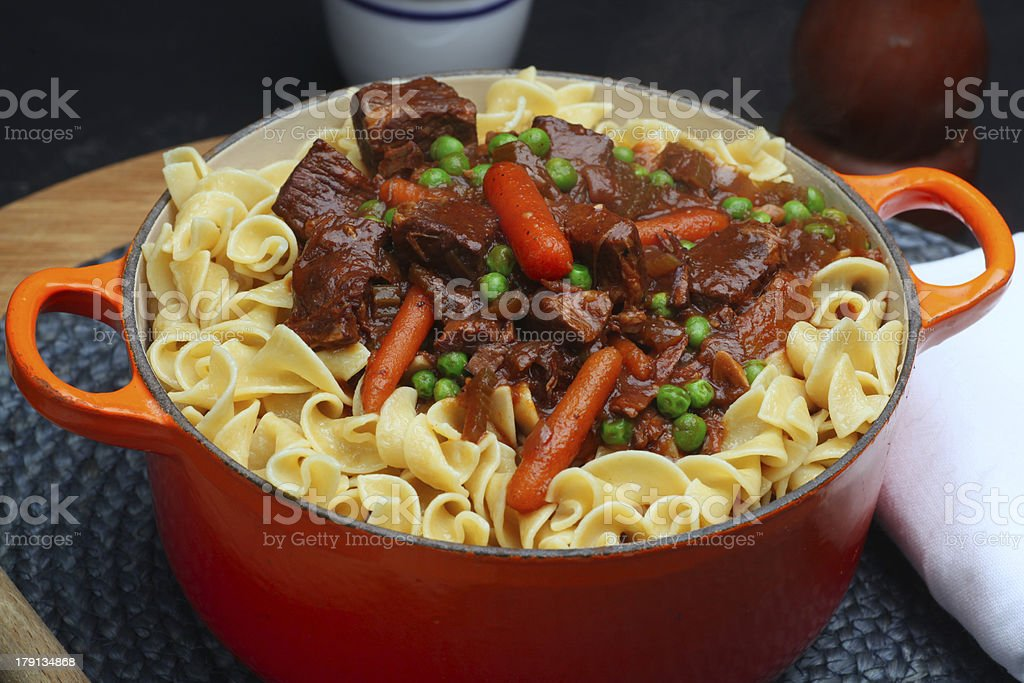Beef Stew with Noodles & Carrots stock photo