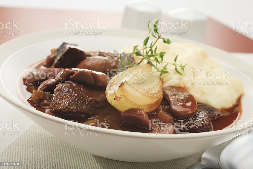 Beef Stew With Onion and Mash Mashed Potato royalty-free stock photo