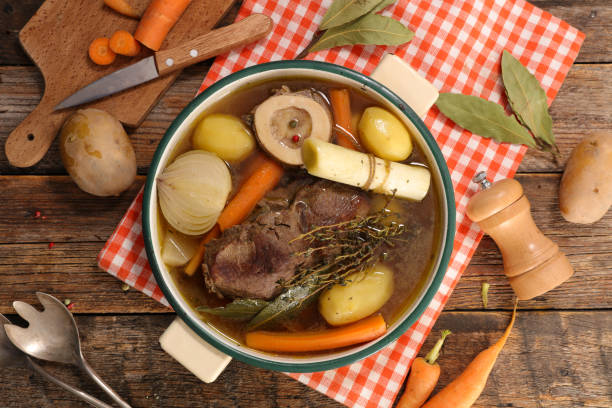 beef stew with vegetable and broth, pot au feu beef stew with vegetable and broth, pot au feu pot au feu stock pictures, royalty-free photos & images