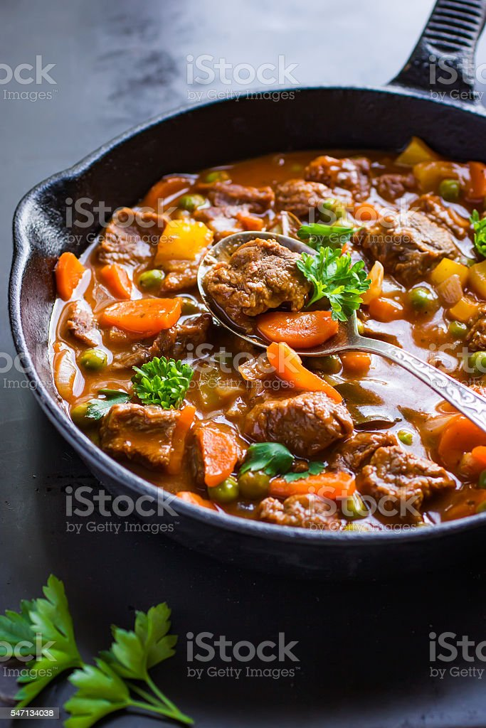 beef stew with vegetables stock photo