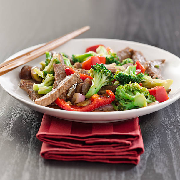 beef stir fry with vegetables stock photo