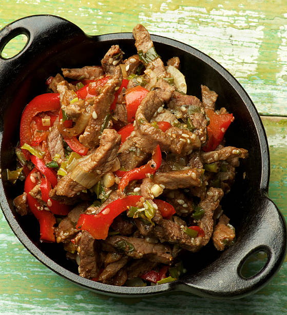 Beef Stir-fry with Sesame stock photo