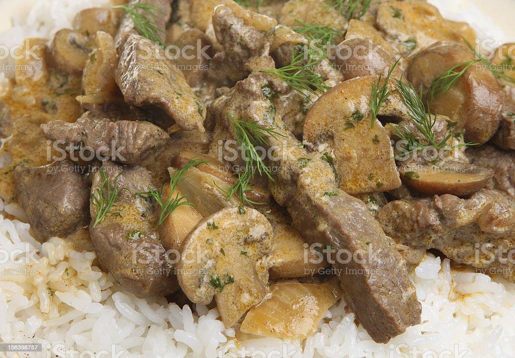 Beef Stoganoff with Rice stock photo