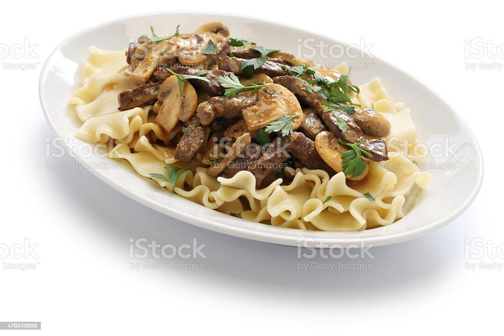 beef stroganoff with pasta, russian cuisine stock photo