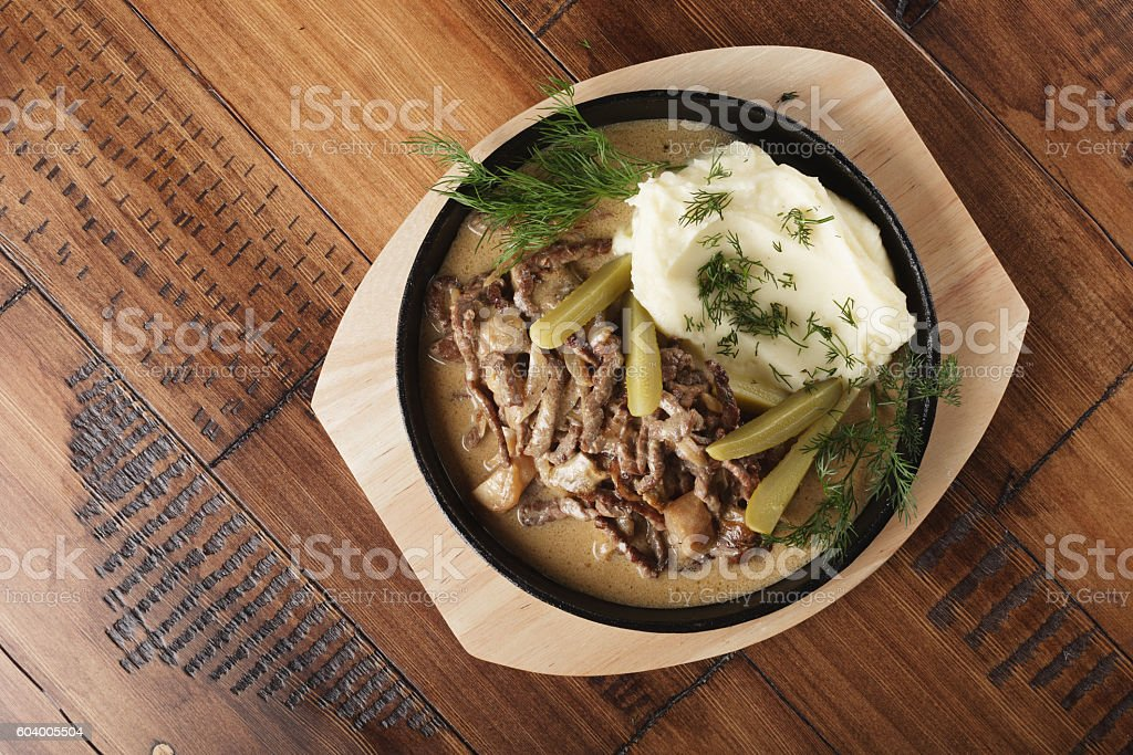 Beef stroganov with mushed potatoes stock photo