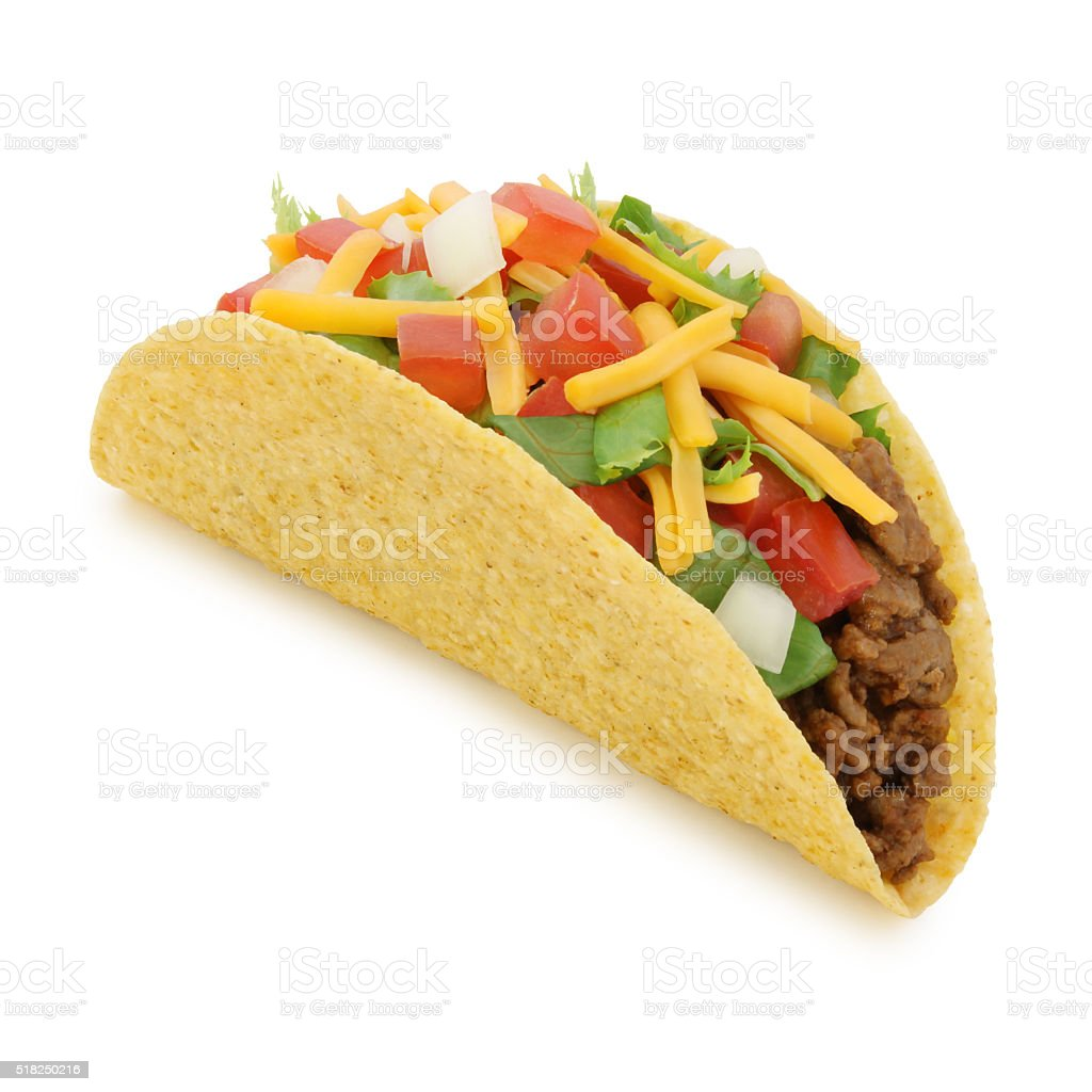 Beef Taco (with path) stock photo