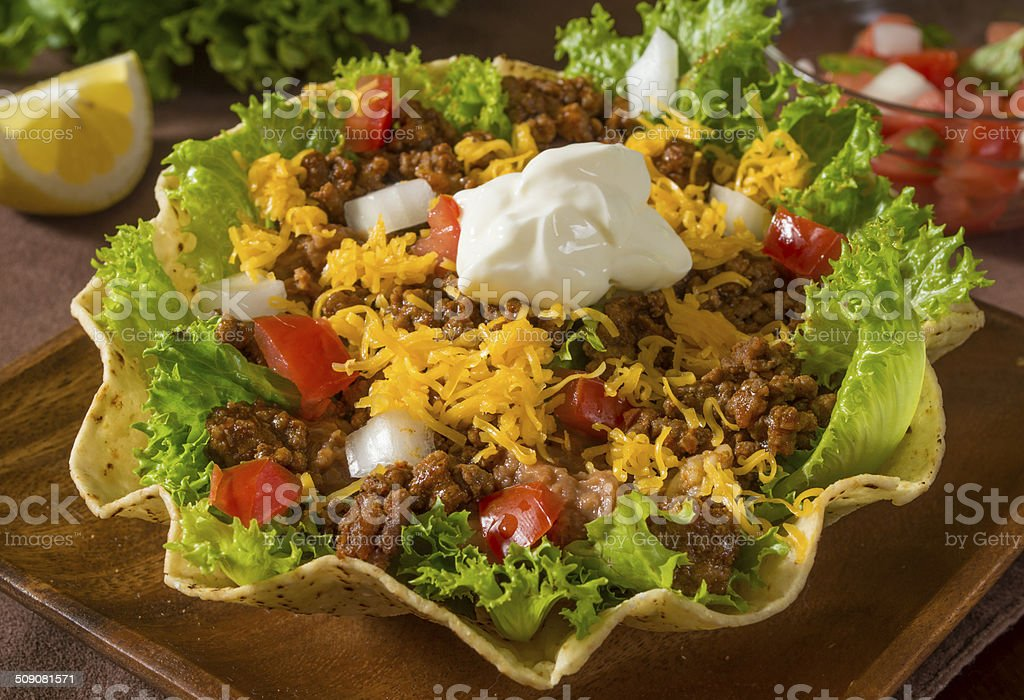 beef taco salad stock photo