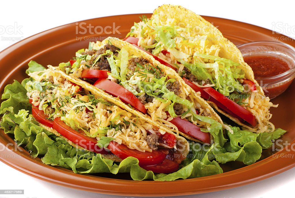 beef tacos with salad and tomatoes salsa royalty-free stock photo