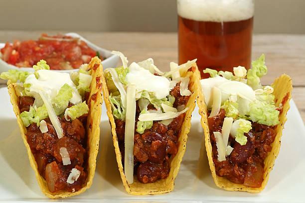 beef tacos with salsa dip stock photo