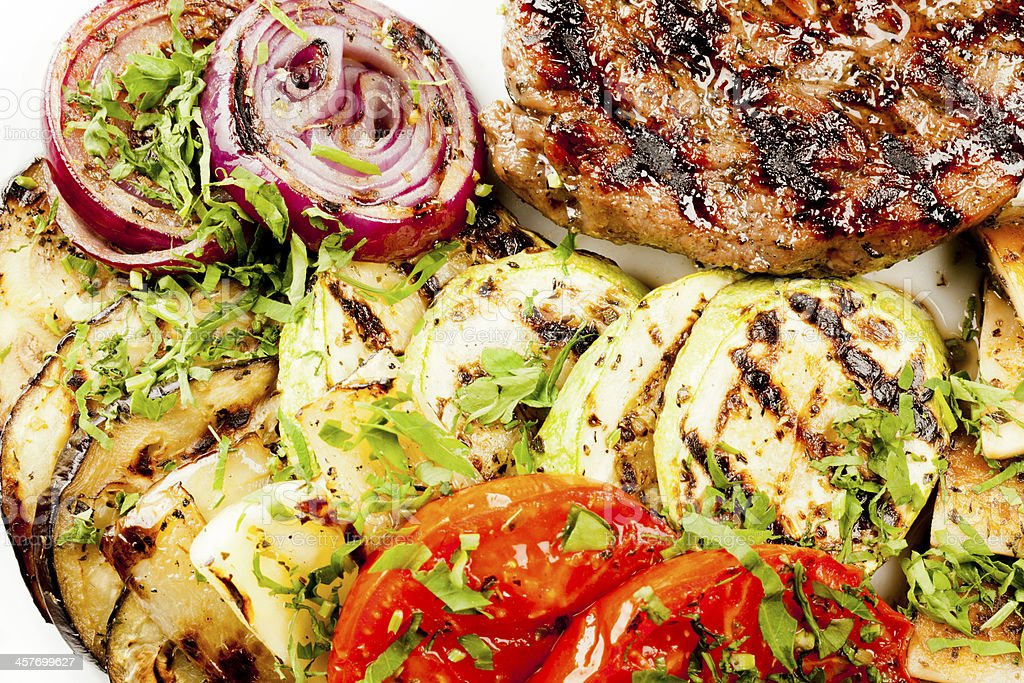 Beef tenderloin with grilled vegetables royalty-free stock photo