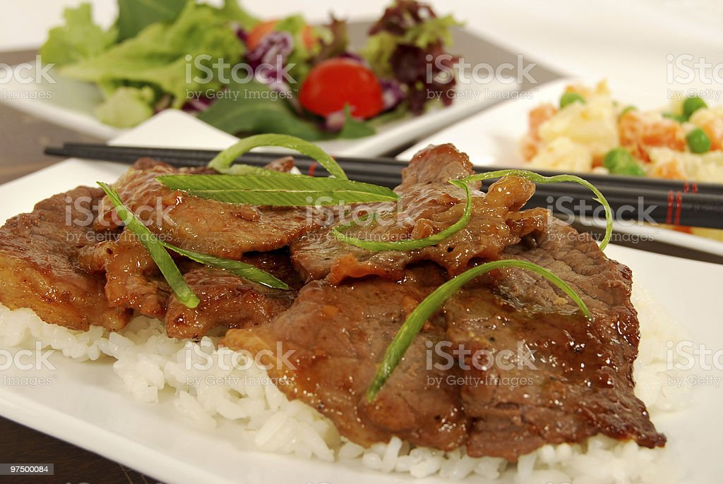 Beef teriyaki on rice royalty-free stock photo