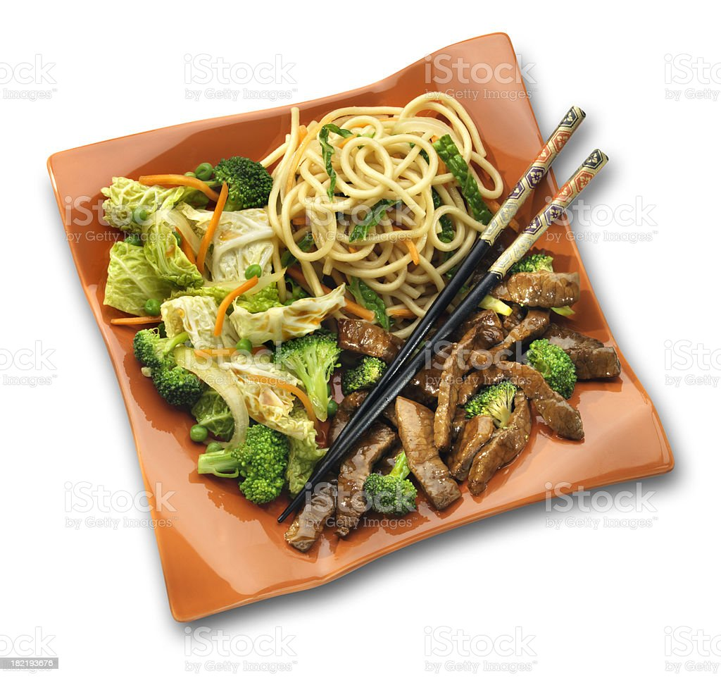 Beef Teriyaki with Asian Noodles, isolated on white royalty-free stock photo