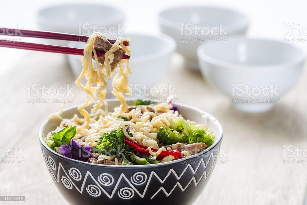 Beef teriyaki with noodles stock photo