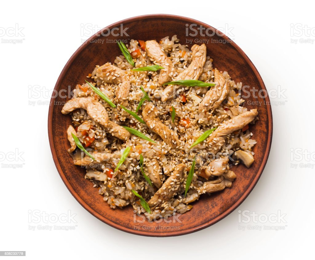 Beef teriyaki with rice bowl isolated at white background stock photo