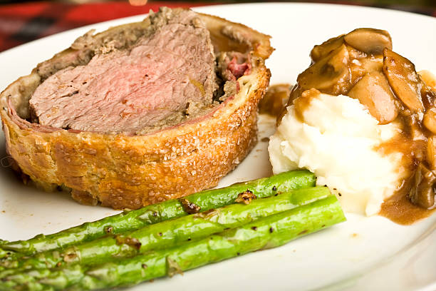 beef wellington stock photo