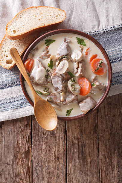 Beef with mushrooms in cream sauce. top view - Photo
