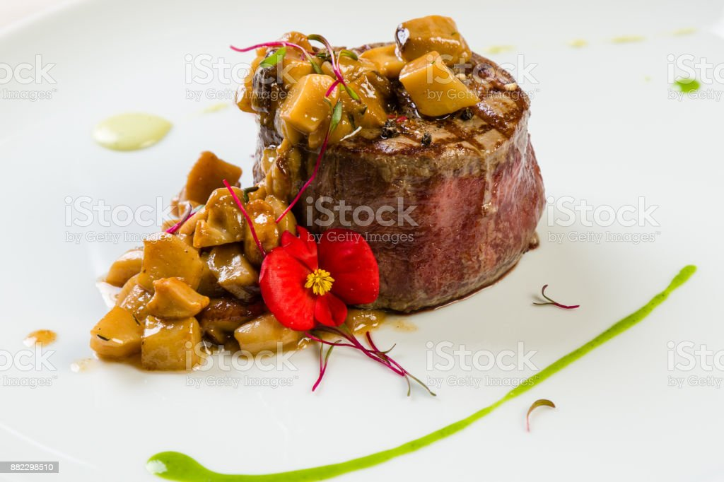 beef with mushrooms stock photo
