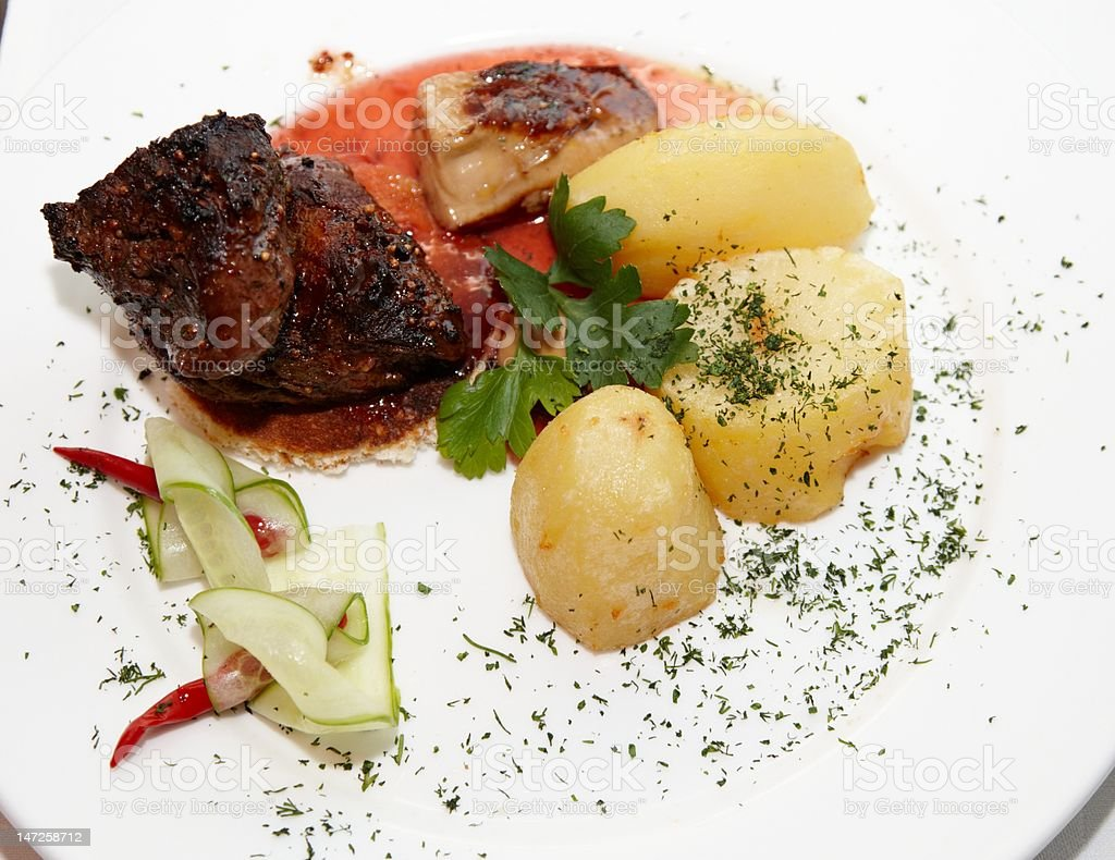 Beef with potato a dish royalty-free stock photo
