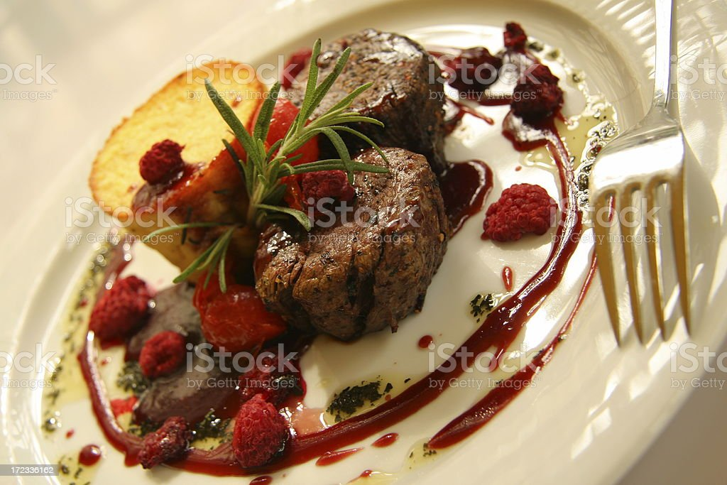 beef with raspberries royalty-free stock photo