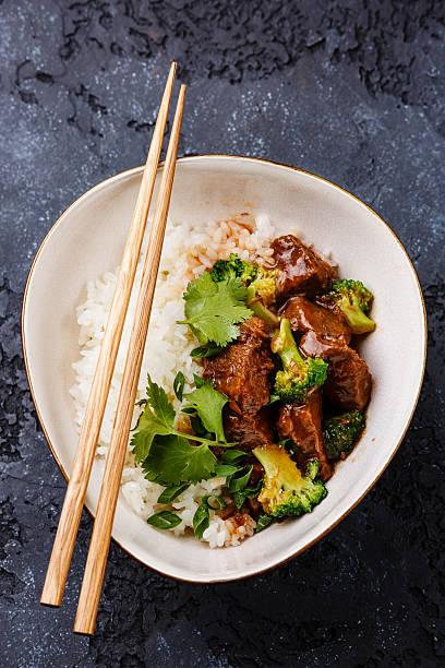 Beef with Rice and Broccoli stock photo