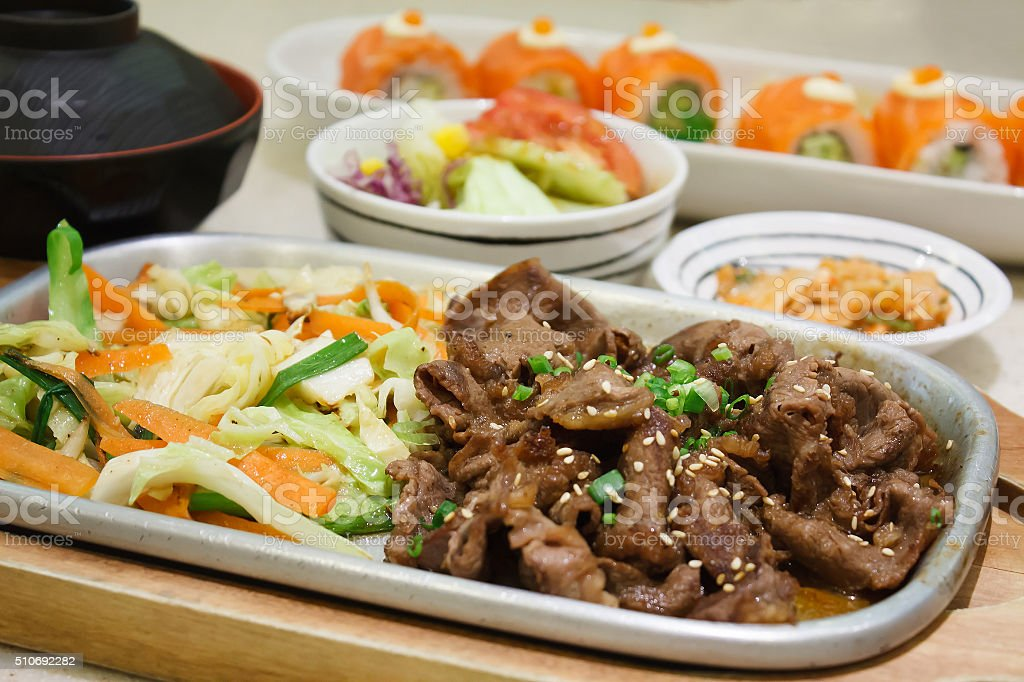 Beef with vegetables teppanyaki Japanese Cooking stock photo