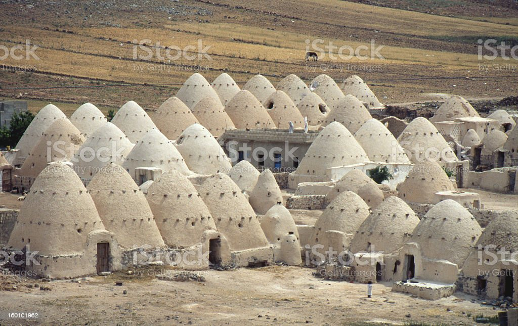 Beehive mud homes in Syria stock photo