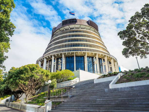 Beehive,  the Executive Wing of the New Zealand Parliament Buildings in Wellington City. New Zealand wellington new zealand stock pictures, royalty-free photos & images