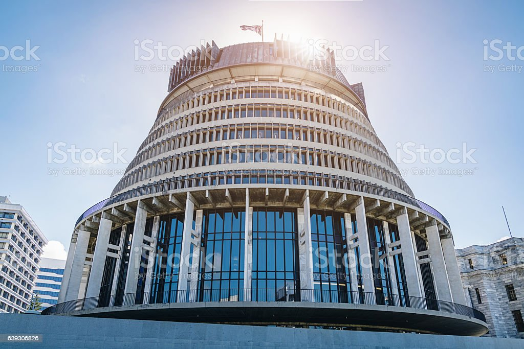 Beehive Wellington against the Sun, New Zealand stock photo