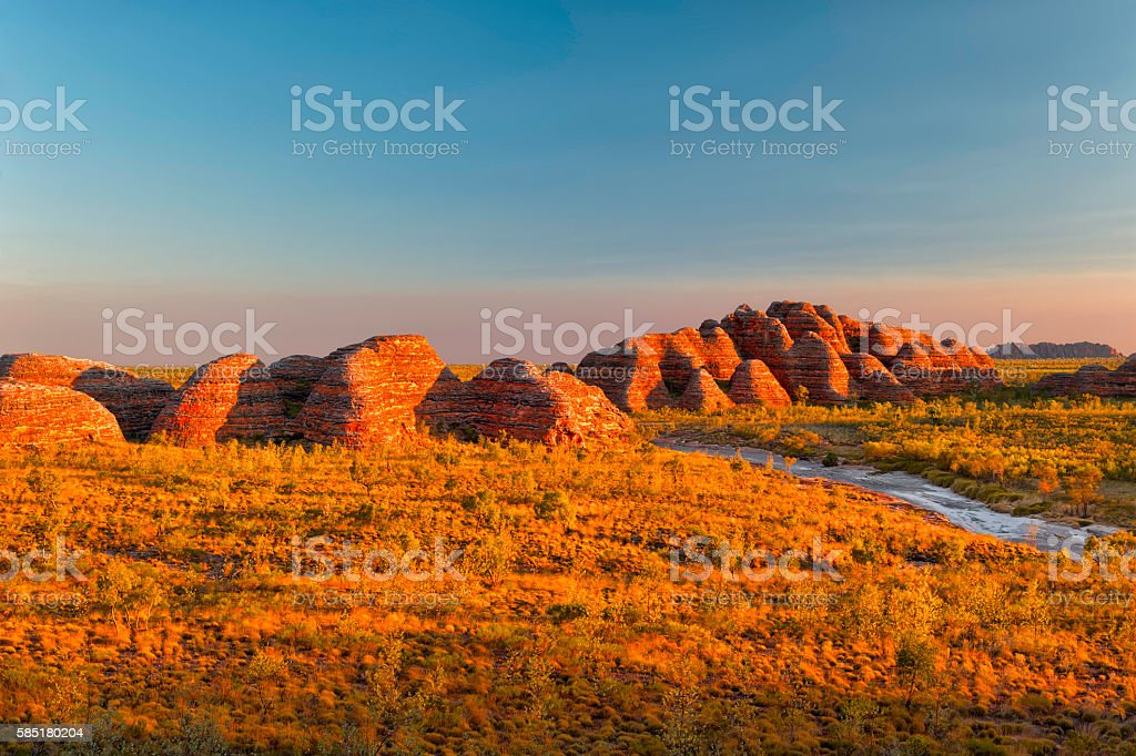 Beehives in Bungle Bungles National Park stock photo