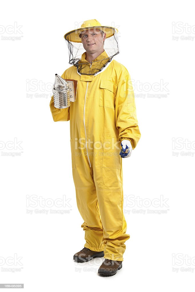 beekeeper in yellow uniform stock photo