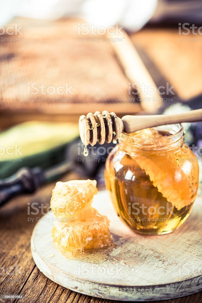 Beekeeper vintage tools and fresh honey royalty-free stock photo