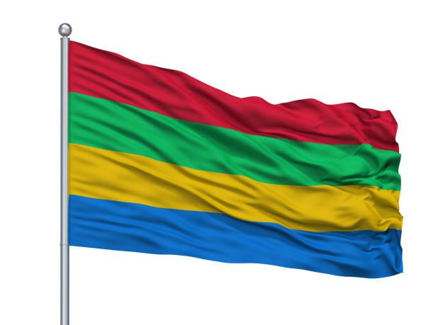 stad van de beemster vlag op vlaggenmast, nederland, geïsoleerd op witte achtergrond - beemster stockfoto's en -beelden