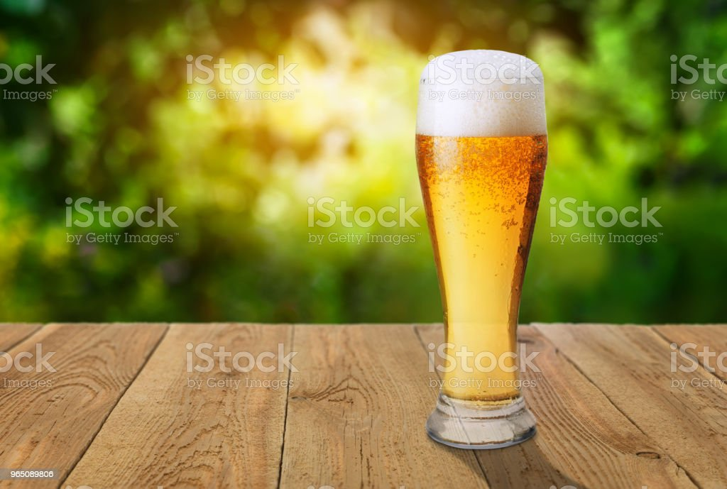 beer against green blurred background zbiór zdjęć royalty-free