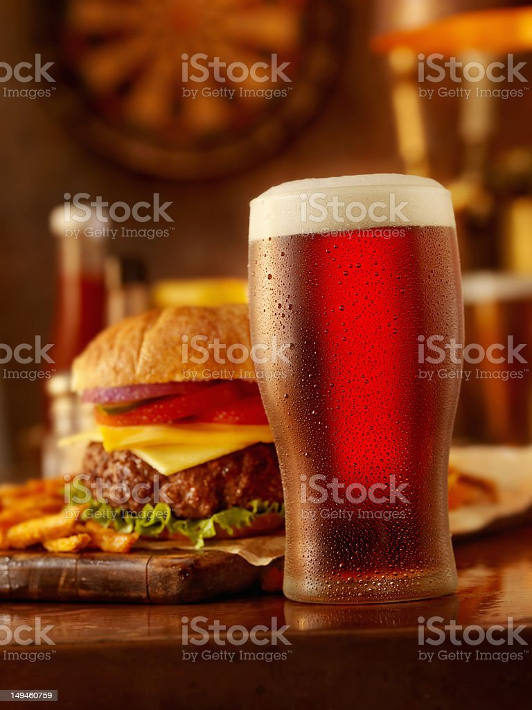 Beer and a Burger stock photo